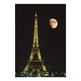 France, Paris. Eiffel Tower at night with Photo Print