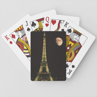 France, Paris. Eiffel Tower at night with Playing Cards