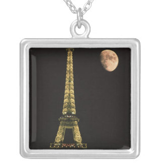 France, Paris. Eiffel Tower at night with Silver Plated Necklace