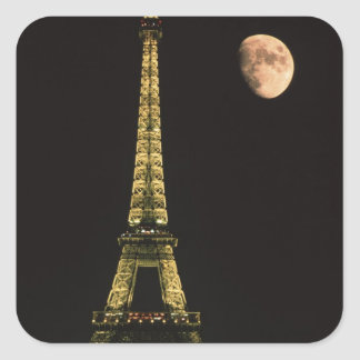 France, Paris. Eiffel Tower at night with Square Sticker