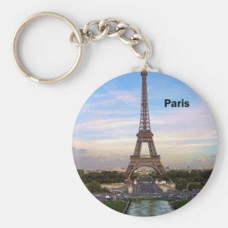 France Paris Eiffel Tower (by St.K) Basic Round Button Keychain
