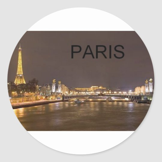 France Paris Eiffel Tower (by St.K) Classic Round Sticker