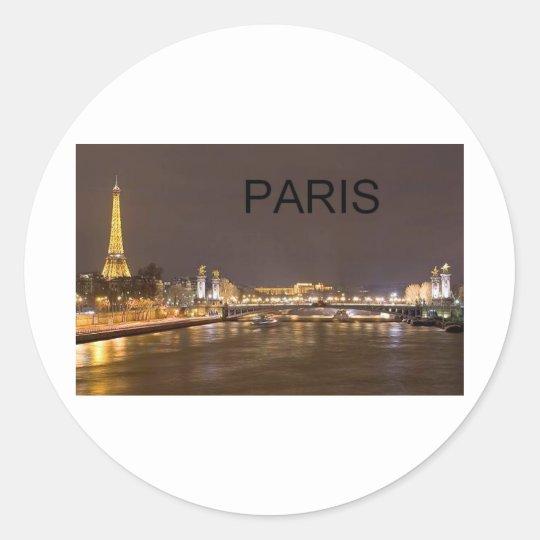 France Paris Eiffel Tower (by St.K) Classic Round Sticker