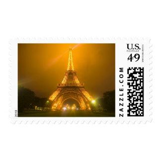 France Paris Eiffel Tower illuminated at 3 Stamp