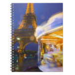 France, Paris. Eiffel Tower in twilight fog and Spiral Notebook