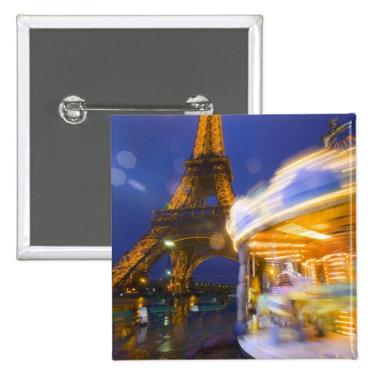 France, Paris. Eiffel Tower in twilight fog and Pinback Button