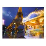 France, Paris. Eiffel Tower in twilight fog and Postcard