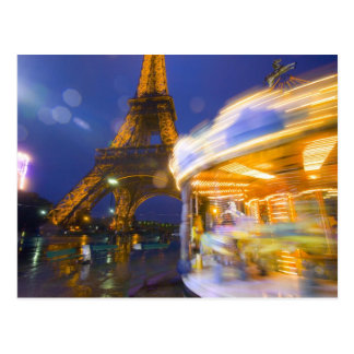 France, Paris. Eiffel Tower in twilight fog and Post Card