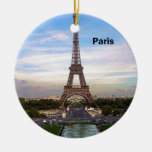 France Paris Eiffel  tower (new) (St.K) Double-Sided Ceramic Round Christmas Ornament