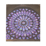 France, Paris. Interior detail of stained glass Memo Note Pad