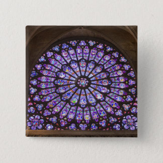France, Paris. Interior detail of stained glass Pinback Button