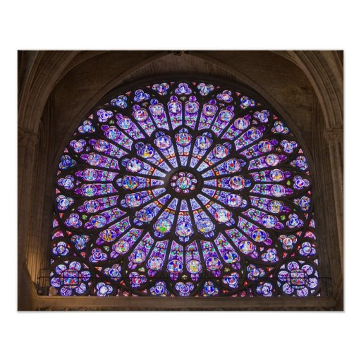 France, Paris. Interior detail of stained glass Poster
