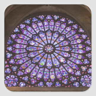 France, Paris. Interior detail of stained glass Square Sticker