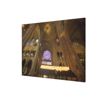 France, Paris. Interior of Notre Dame Cathedral. Canvas Print