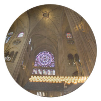 France, Paris. Interior of Notre Dame Cathedral. Dinner Plate