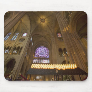 France, Paris. Interior of Notre Dame Cathedral. Mouse Pad