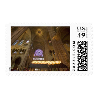 France, Paris. Interior of Notre Dame Cathedral. Postage