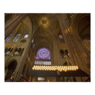 France, Paris. Interior of Notre Dame Cathedral. Poster