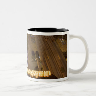 France, Paris. Interior of Notre Dame Cathedral. Two-Tone Coffee Mug