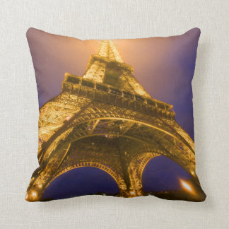 France, Paris. Looking up from base of Eiffel Throw Pillow