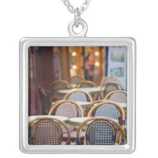 FRANCE, PARIS, Montmartre: Place du Tertre, Cafe 2 Square Pendant Necklace