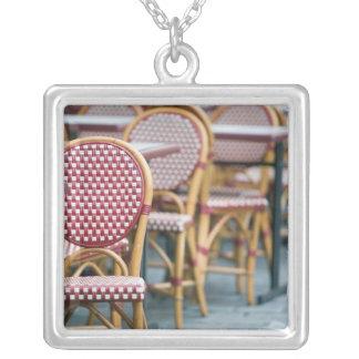 FRANCE, PARIS, Montmartre: Place du Tertre, Cafe Square Pendant Necklace