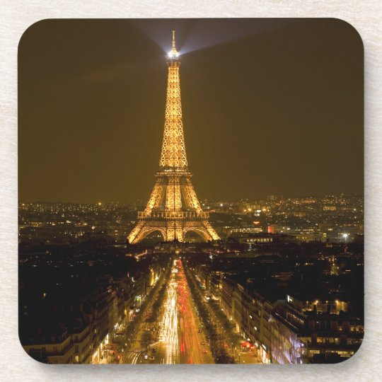 France, Paris. Nighttime view of Eiffel Tower Beverage Coaster