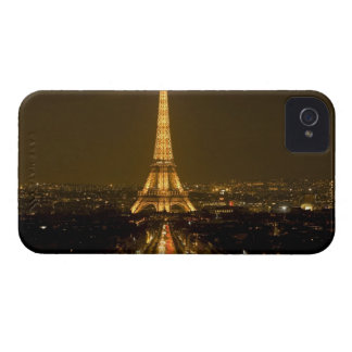 France, Paris. Nighttime view of Eiffel Tower iPhone 4 Cases