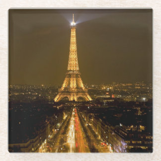 France, Paris. Nighttime view of Eiffel Tower Glass Coaster