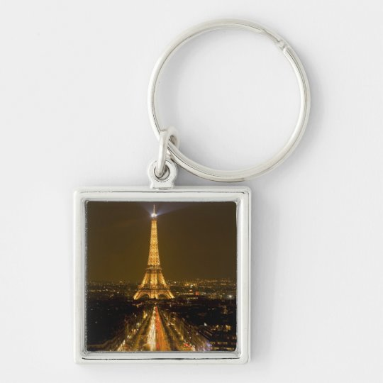 France, Paris. Nighttime view of Eiffel Tower Keychain
