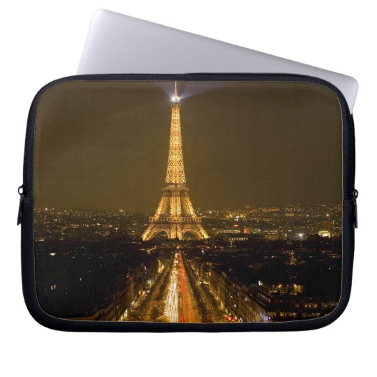 France, Paris. Nighttime view of Eiffel Tower Laptop Sleeve