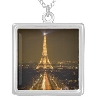 France, Paris. Nighttime view of Eiffel Tower Square Pendant Necklace