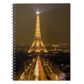 France, Paris. Nighttime view of Eiffel Tower Notebook