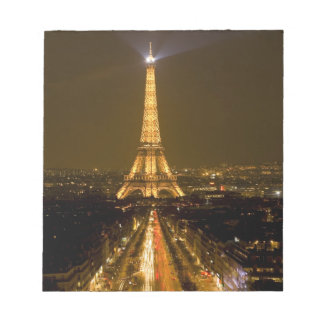 France, Paris. Nighttime view of Eiffel Tower Notepad