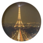France, Paris. Nighttime view of Eiffel Tower Party Plates