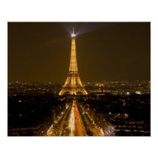 France, Paris. Nighttime view of Eiffel Tower Poster