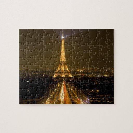 France, Paris. Nighttime view of Eiffel Tower Puzzle