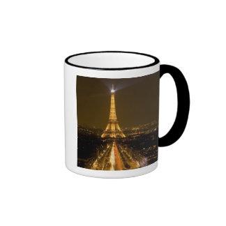 France, Paris. Nighttime view of Eiffel Tower Ringer Mug