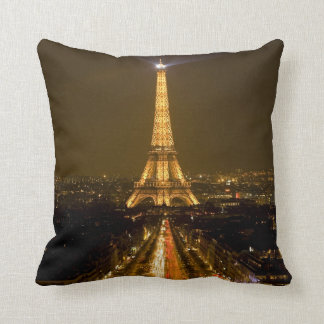 France, Paris. Nighttime view of Eiffel Tower Throw Pillow