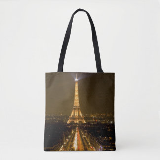 France, Paris. Nighttime view of Eiffel Tower Tote Bag