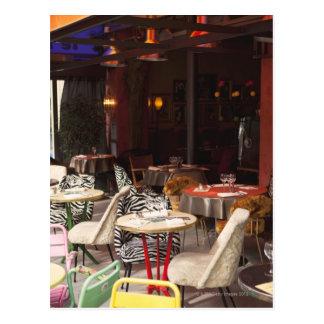 France, Paris, outdoor cafe Postcards
