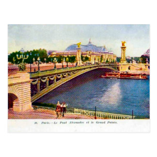 France Paris, Pont Alexandre III, Grand Palais Postcard