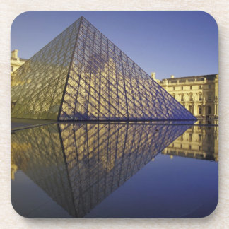FRANCE, Paris Reflection, Pyramid. The Louvre Beverage Coaster