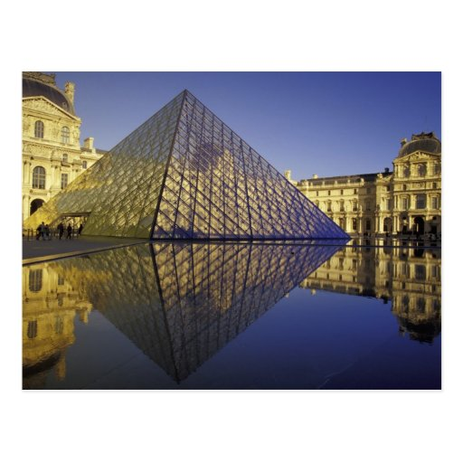 FRANCE, Paris Reflection, Pyramid. The Louvre Postcard