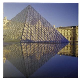 FRANCE, Paris Reflection, Pyramid. The Louvre Large Square Tile