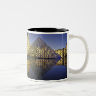 FRANCE, Paris Reflection, Pyramid. The Louvre Two-Tone Coffee Mug