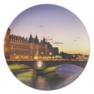 France, Paris, River Seine and Conciergerie at Melamine Plate