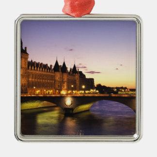 France, Paris, River Seine and Conciergerie at Metal Ornament