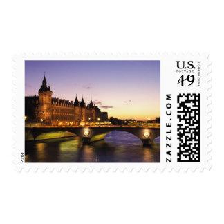 France, Paris, River Seine and Conciergerie at Postage Stamp