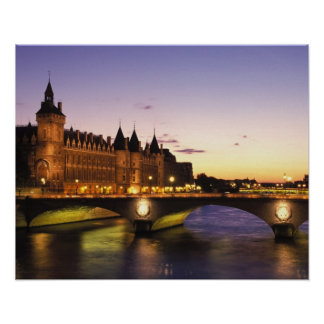 France, Paris, River Seine and Conciergerie at Poster